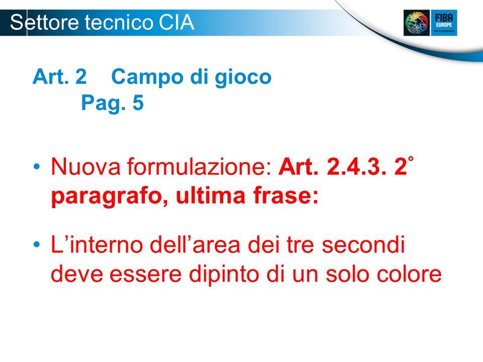 Art. 2 Campo di gioco Pag. 5 Nuova formulazione: Art. 2.4.3. 2 ° paragrafo, ultima frase: Linterno dellarea dei tre secondi deve essere dipinto di un