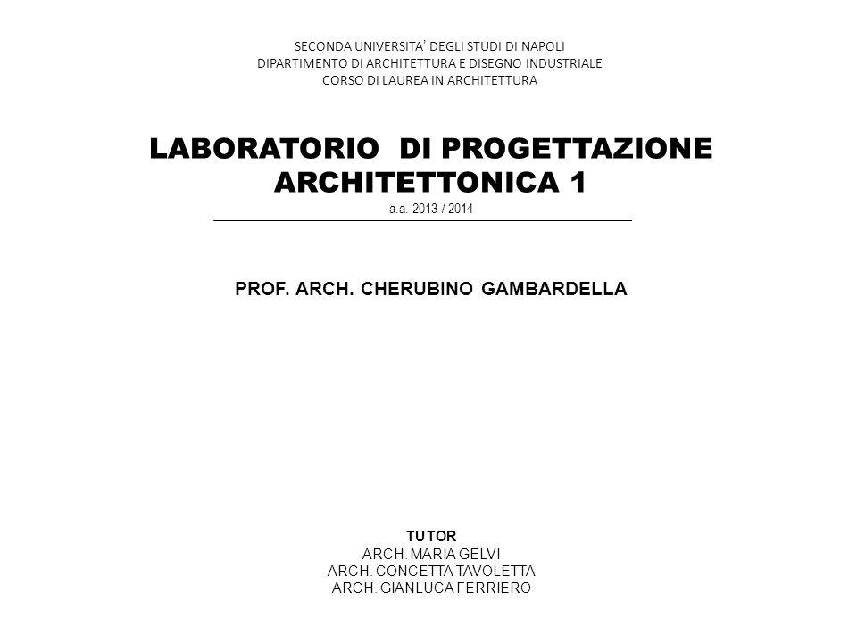 LABORATORIO DI PROGETTAZIONE ARCHITETTONICA 1 a.a. 2013 / 2014 PROF. ARCH. CHERUBINO GAMBARDELLA TUTOR ARCH. MARIA GELVI ARCH. CONCETTA TAVOLETTA ARCH