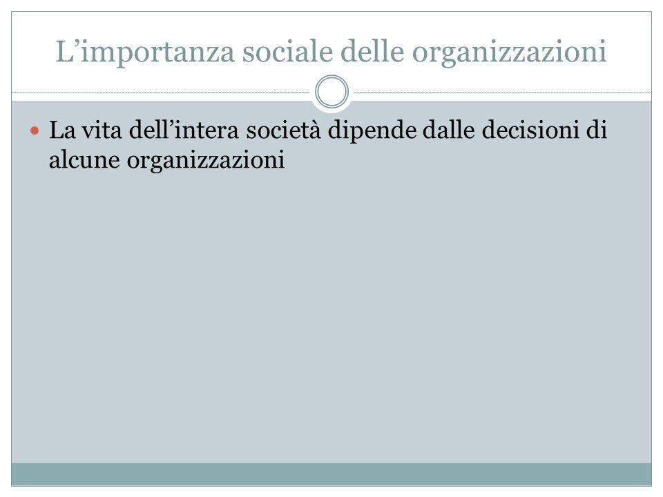 Limportanza sociale delle organizzazioni La vita dellintera società dipende dalle decisioni di alcune organizzazioni