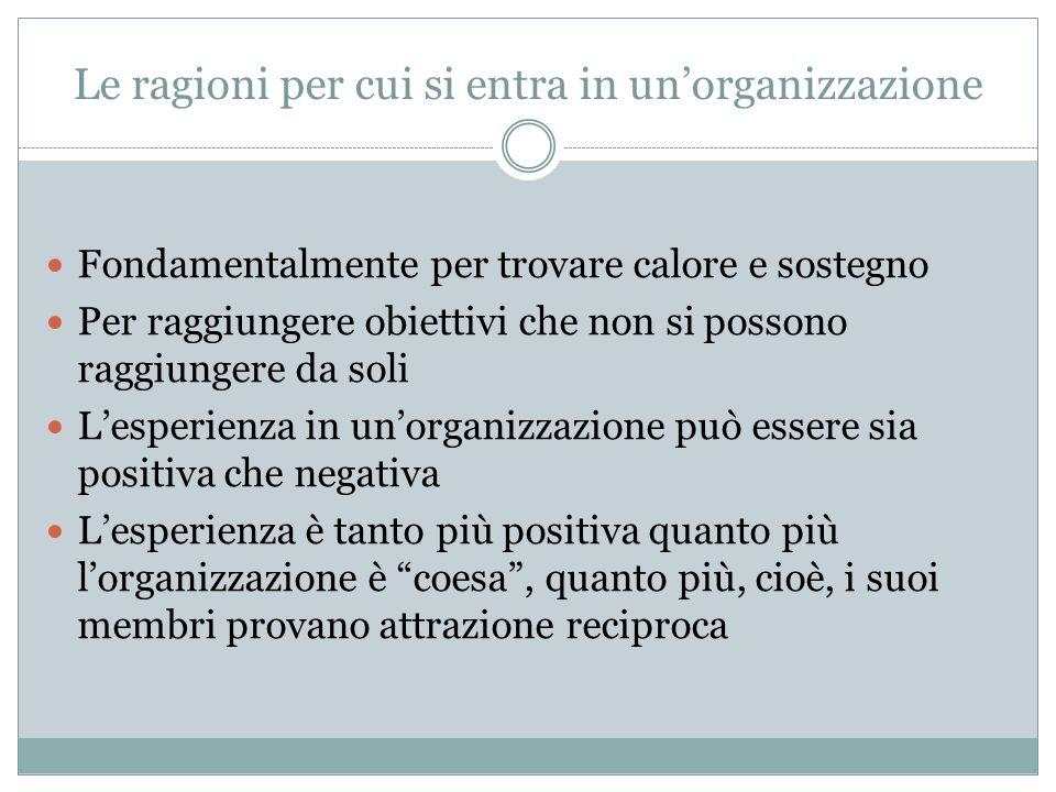 Le ragioni per cui si entra in unorganizzazione Fondamentalmente per trovare calore e sostegno Per raggiungere obiettivi che non si possono raggiunger