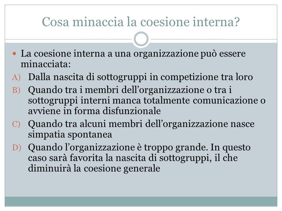 Cosa minaccia la coesione interna? La coesione interna a una organizzazione può essere minacciata: A) Dalla nascita di sottogruppi in competizione tra