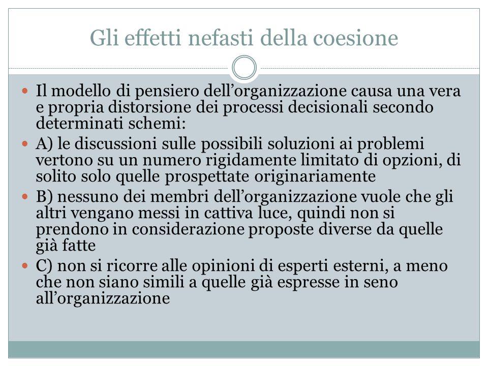 Gli effetti nefasti della coesione Il modello di pensiero dellorganizzazione causa una vera e propria distorsione dei processi decisionali secondo det