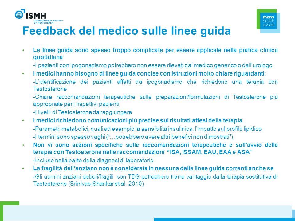 Feedback del medico sulle linee guida Le linee guida sono spesso troppo complicate per essere applicate nella pratica clinica quotidiana -I pazienti c