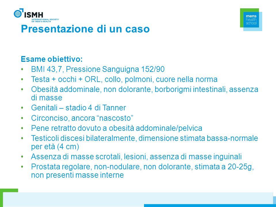 Presentazione di un caso Esame obiettivo: BMI 43,7, Pressione Sanguigna 152/90 Testa + occhi + ORL, collo, polmoni, cuore nella norma Obesità addomina
