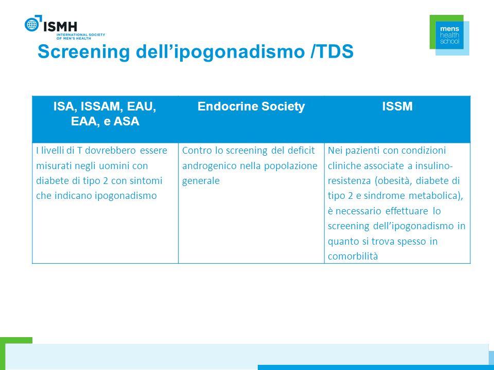 Screening dellipogonadismo /TDS ISA, ISSAM, EAU, EAA, e ASA Endocrine SocietyISSM I livelli di T dovrebbero essere misurati negli uomini con diabete d