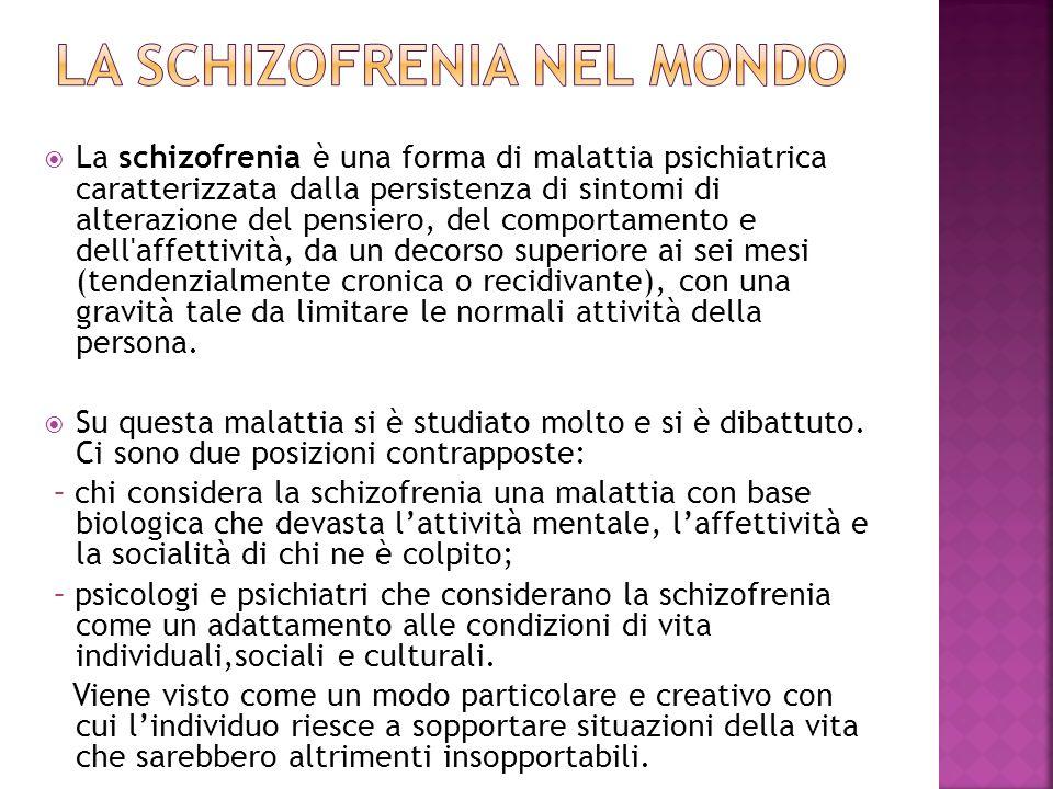 La schizofrenia è una forma di malattia psichiatrica caratterizzata dalla persistenza di sintomi di alterazione del pensiero, del comportamento e dell