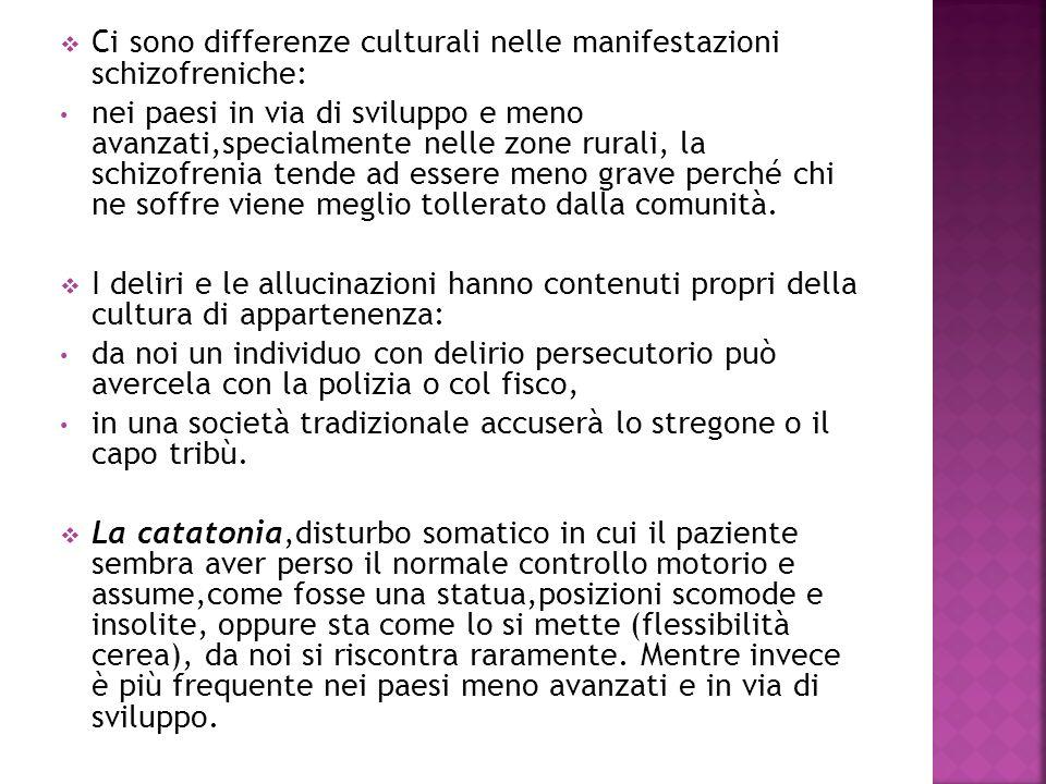 Ci sono differenze culturali nelle manifestazioni schizofreniche: nei paesi in via di sviluppo e meno avanzati,specialmente nelle zone rurali, la schi