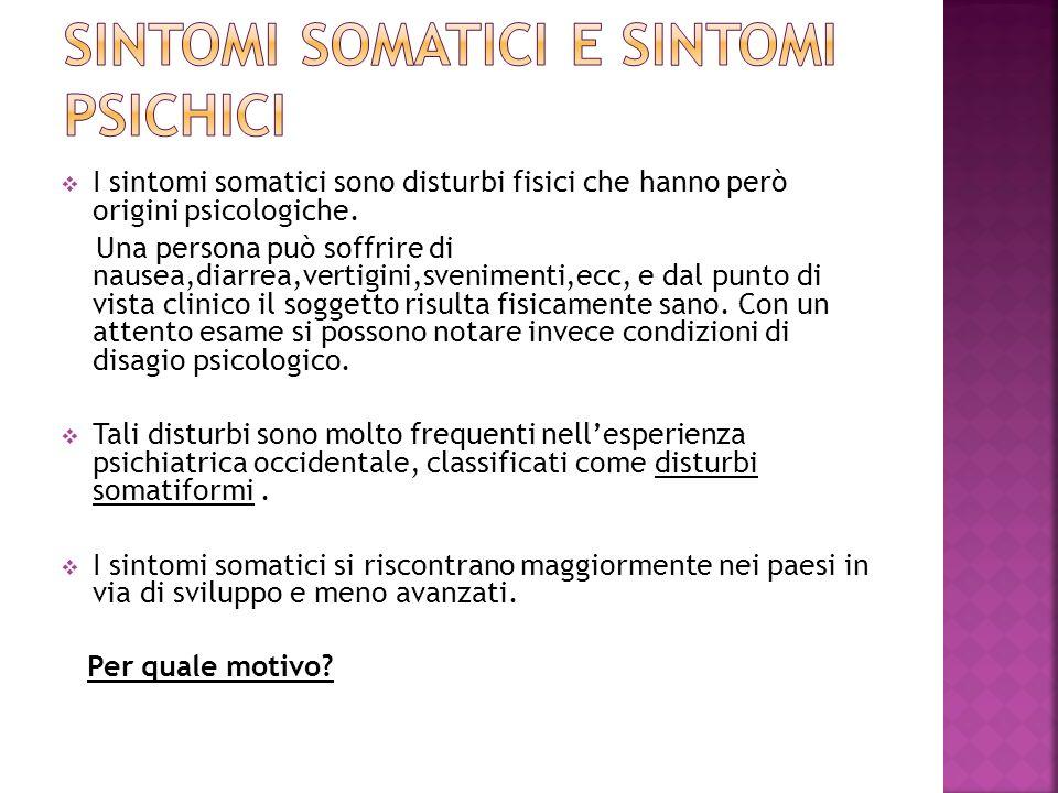 I sintomi somatici sono disturbi fisici che hanno però origini psicologiche. Una persona può soffrire di nausea,diarrea,vertigini,svenimenti,ecc, e da