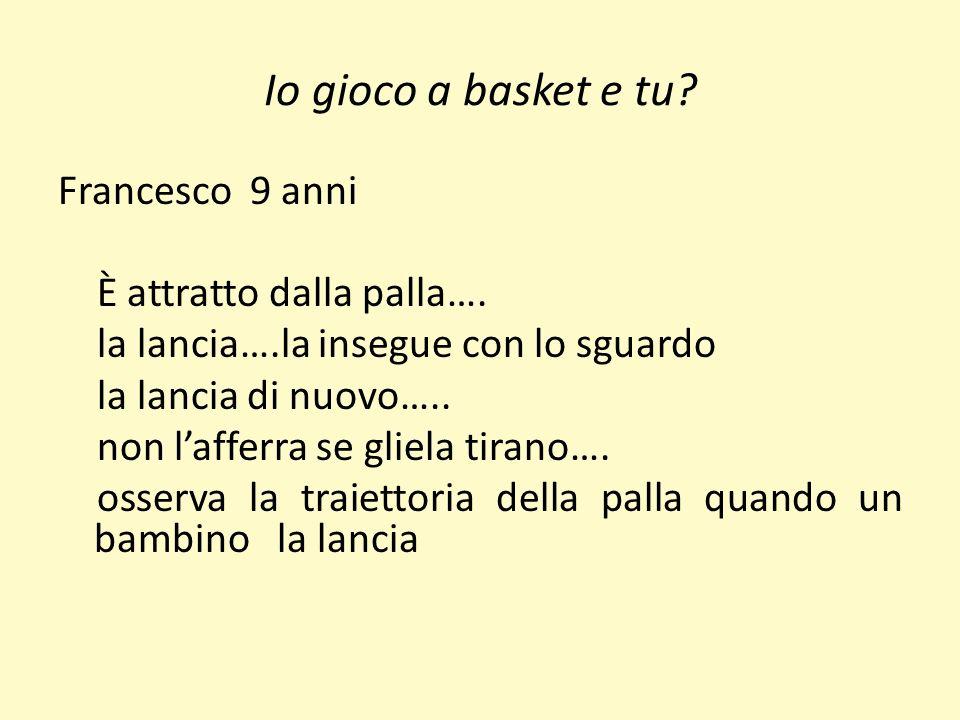 Io gioco a basket e tu? Francesco 9 anni È attratto dalla palla…. la lancia….la insegue con lo sguardo la lancia di nuovo….. non lafferra se gliela ti