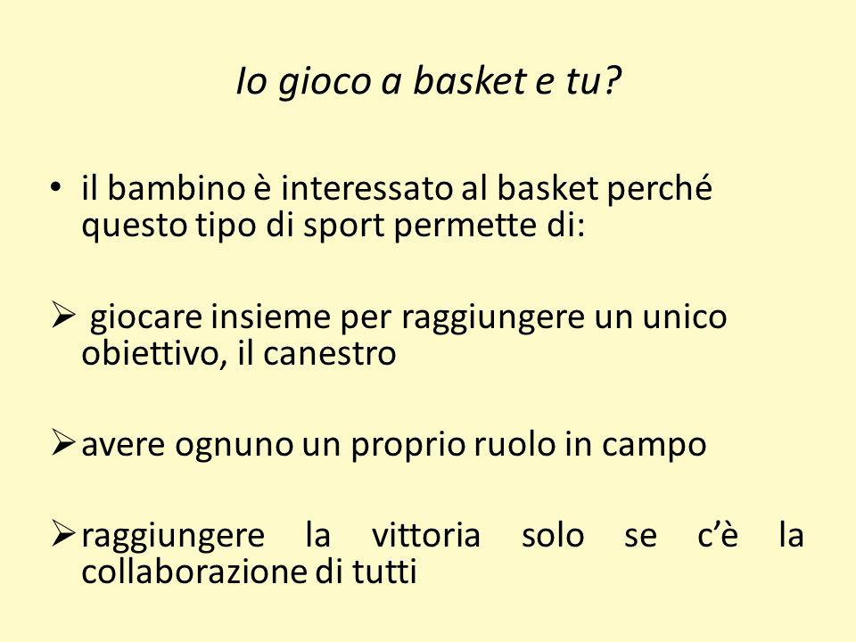 Io gioco a basket e tu? il bambino è interessato al basket perché questo tipo di sport permette di: giocare insieme per raggiungere un unico obiettivo