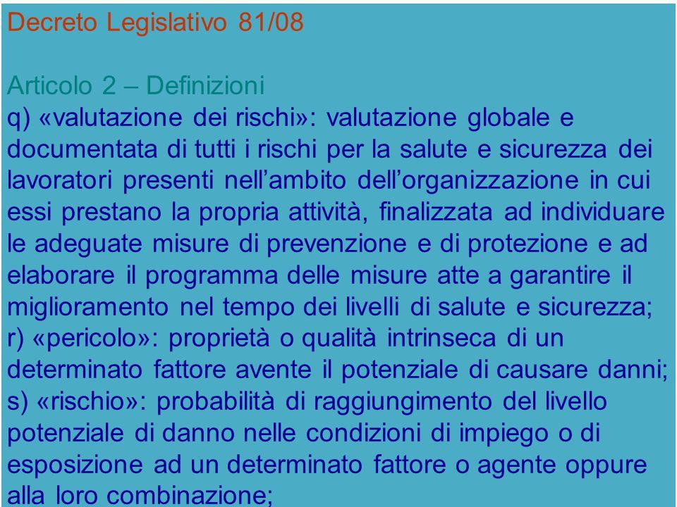 Decreto Legislativo 81/08 Articolo 2 – Definizioni q) «valutazione dei rischi»: valutazione globale e documentata di tutti i rischi per la salute e si