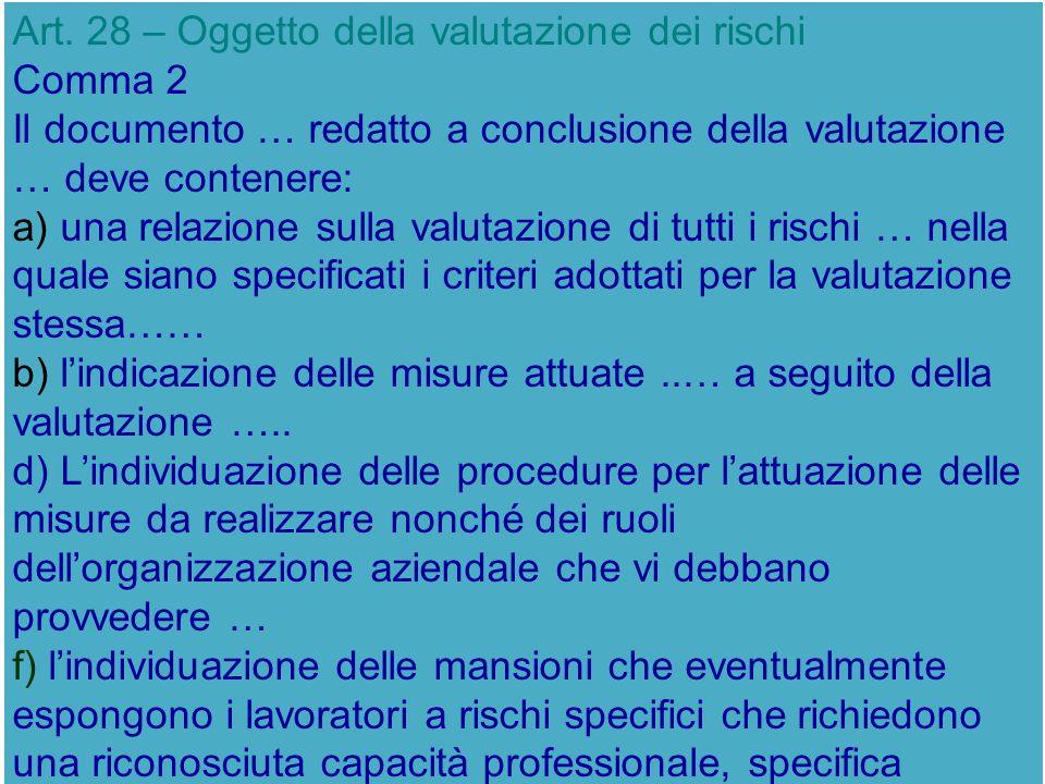 Art. 28 – Oggetto della valutazione dei rischi Comma 2 Il documento … redatto a conclusione della valutazione … deve contenere: a) una relazione sulla