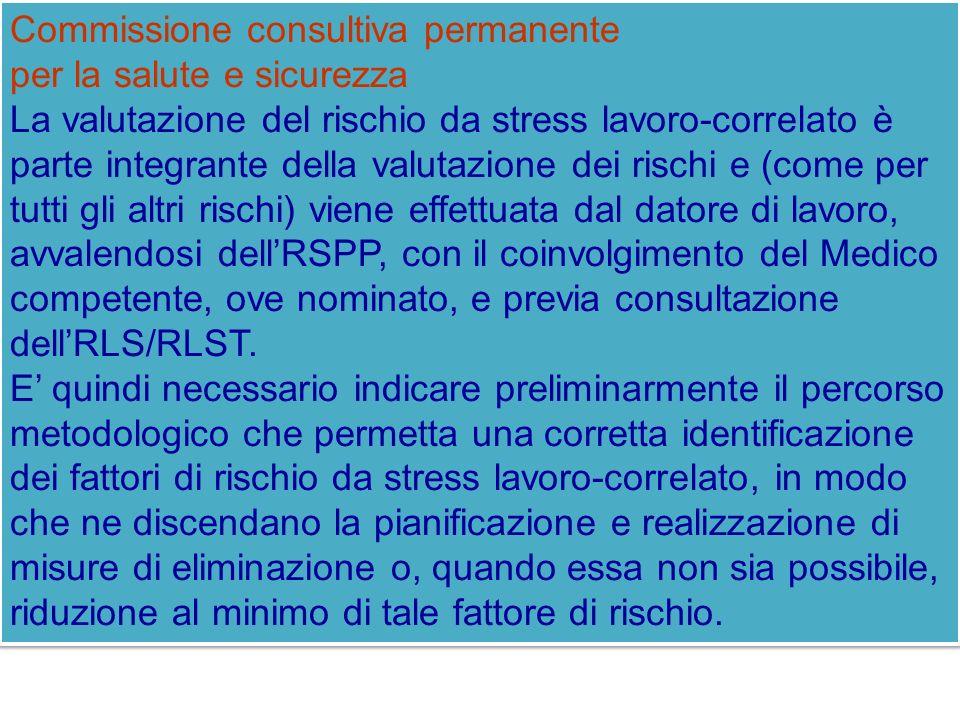 Commissione consultiva permanente per la salute e sicurezza La valutazione del rischio da stress lavoro-correlato è parte integrante della valutazione