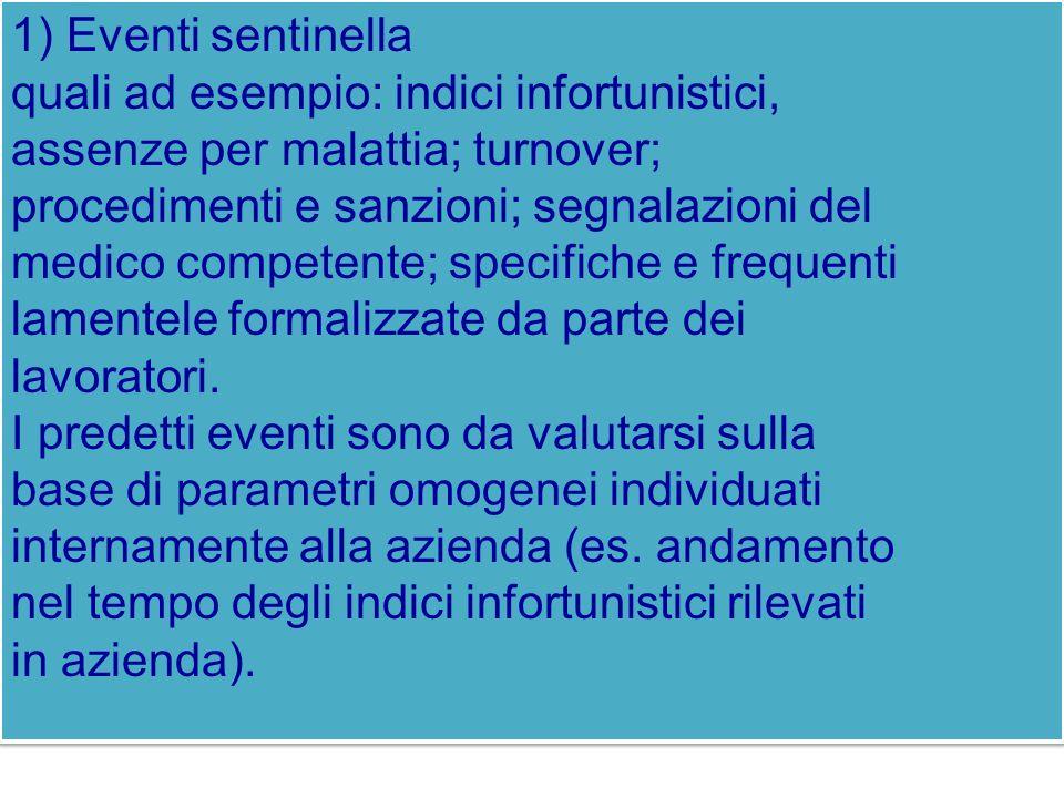 1) Eventi sentinella quali ad esempio: indici infortunistici, assenze per malattia; turnover; procedimenti e sanzioni; segnalazioni del medico compete