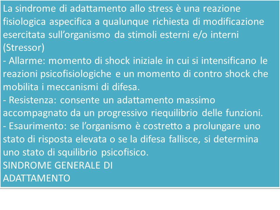 La sindrome di adattamento allo stress è una reazione fisiologica aspecifica a qualunque richiesta di modificazione esercitata sullorganismo da stimol