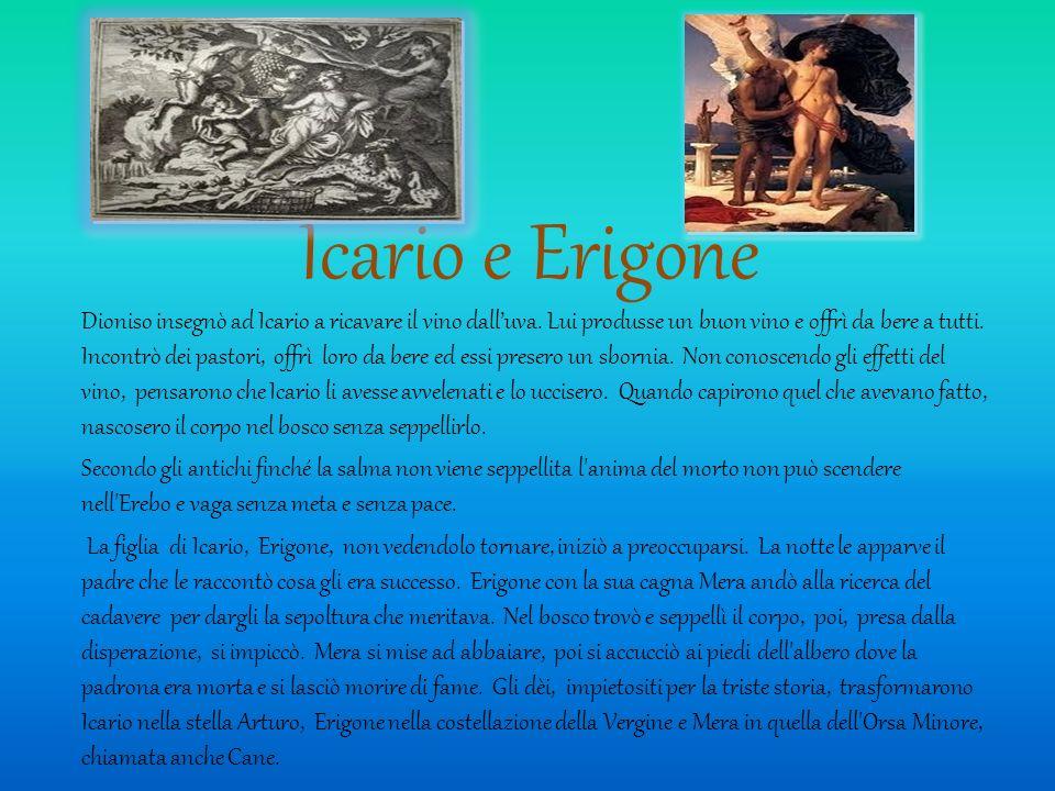 Icario e Erigone Dioniso insegnò ad Icario a ricavare il vino dalluva. Lui produsse un buon vino e offrì da bere a tutti. Incontrò dei pastori, offrì