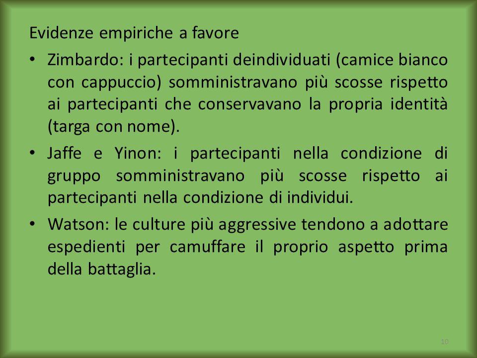 Evidenze empiriche a favore Zimbardo: i partecipanti deindividuati (camice bianco con cappuccio) somministravano più scosse rispetto ai partecipanti c