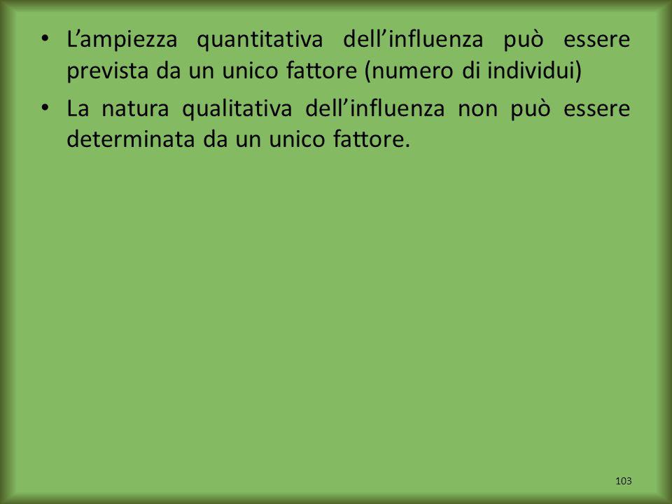 Lampiezza quantitativa dellinfluenza può essere prevista da un unico fattore (numero di individui) La natura qualitativa dellinfluenza non può essere
