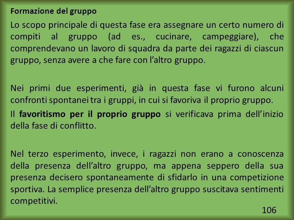 106 Formazione del gruppo Lo scopo principale di questa fase era assegnare un certo numero di compiti al gruppo (ad es., cucinare, campeggiare), che c