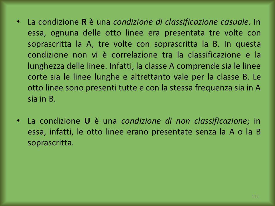 117 La condizione R è una condizione di classificazione casuale. In essa, ognuna delle otto linee era presentata tre volte con soprascritta la A, tre
