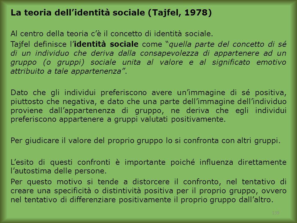139 La teoria dellidentità sociale (Tajfel, 1978) Al centro della teoria cè il concetto di identità sociale. Tajfel definisce lidentità sociale come q
