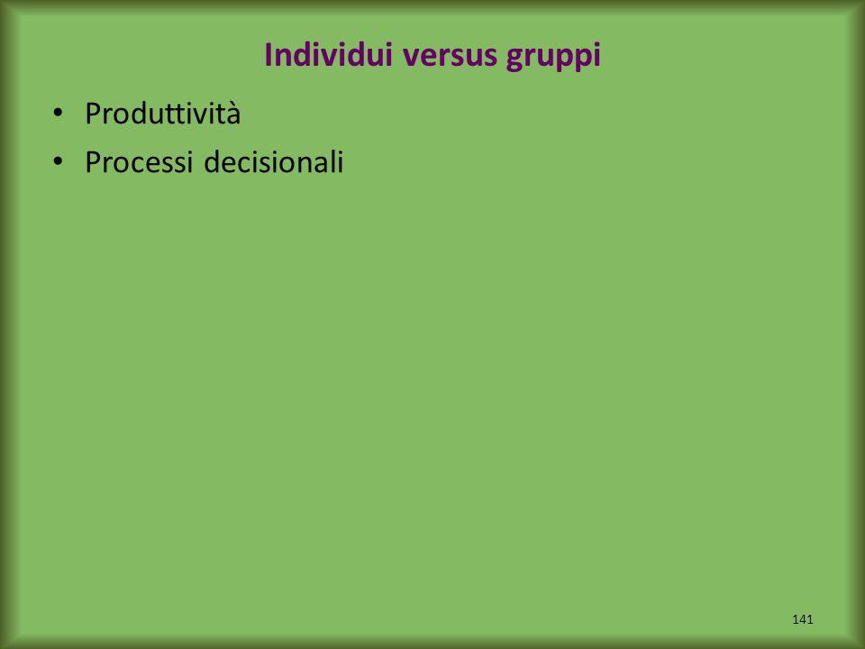 Individui versus gruppi Produttività Processi decisionali 141
