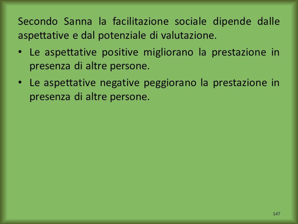 Secondo Sanna la facilitazione sociale dipende dalle aspettative e dal potenziale di valutazione. Le aspettative positive migliorano la prestazione in