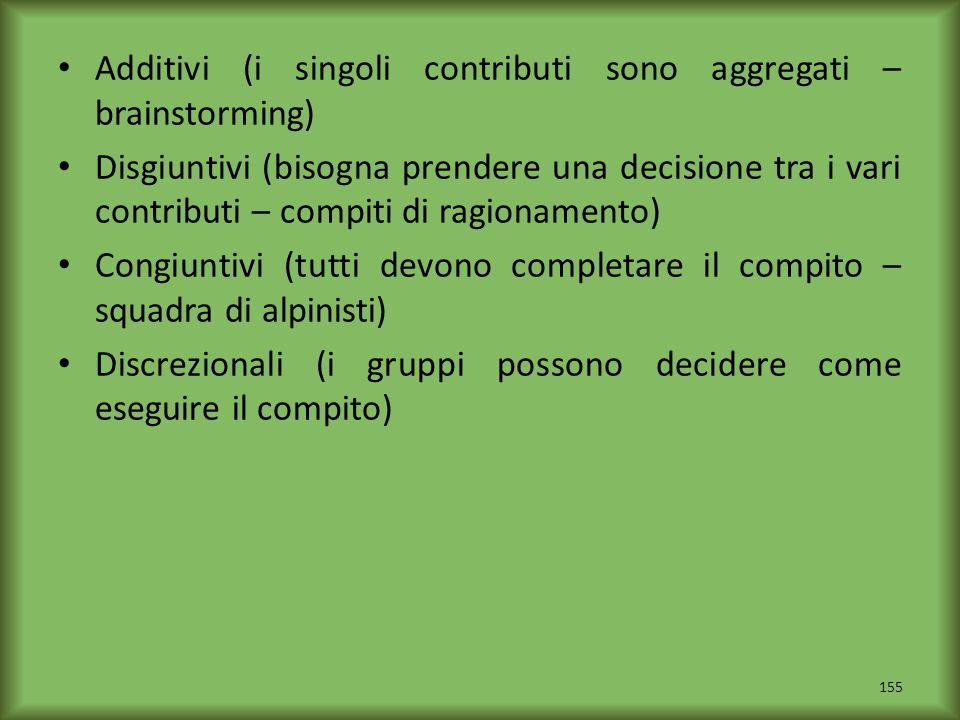 Additivi (i singoli contributi sono aggregati – brainstorming) Disgiuntivi (bisogna prendere una decisione tra i vari contributi – compiti di ragionam