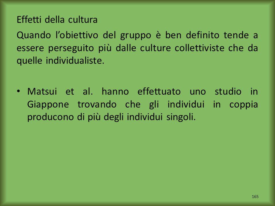 Effetti della cultura Quando lobiettivo del gruppo è ben definito tende a essere perseguito più dalle culture collettiviste che da quelle individualis