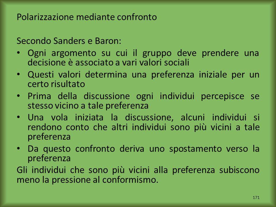 Polarizzazione mediante confronto Secondo Sanders e Baron: Ogni argomento su cui il gruppo deve prendere una decisione è associato a vari valori socia