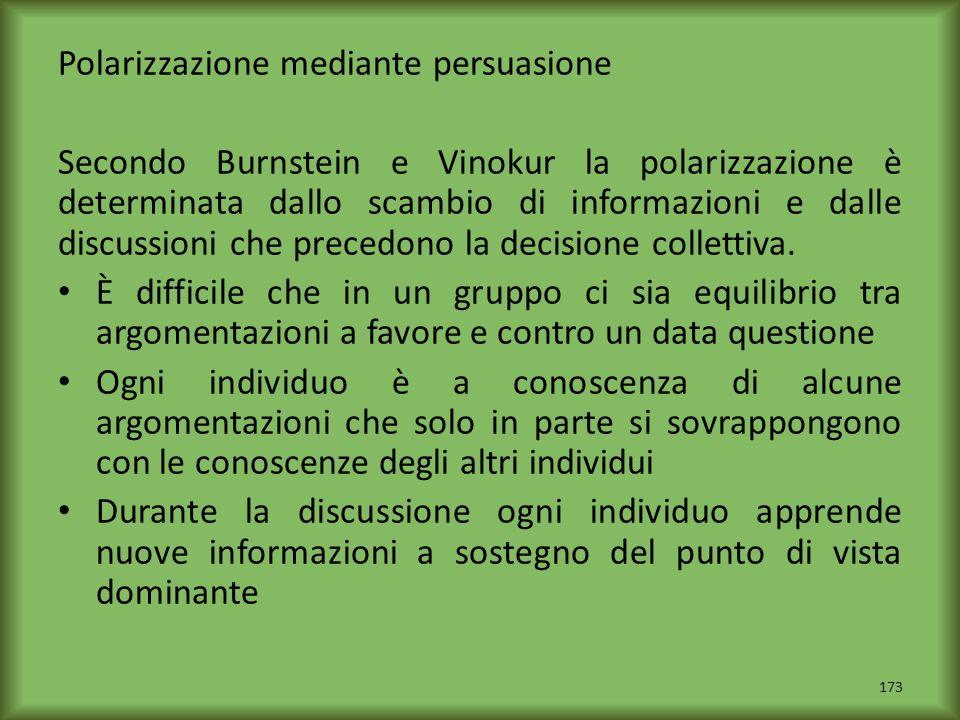 Polarizzazione mediante persuasione Secondo Burnstein e Vinokur la polarizzazione è determinata dallo scambio di informazioni e dalle discussioni che