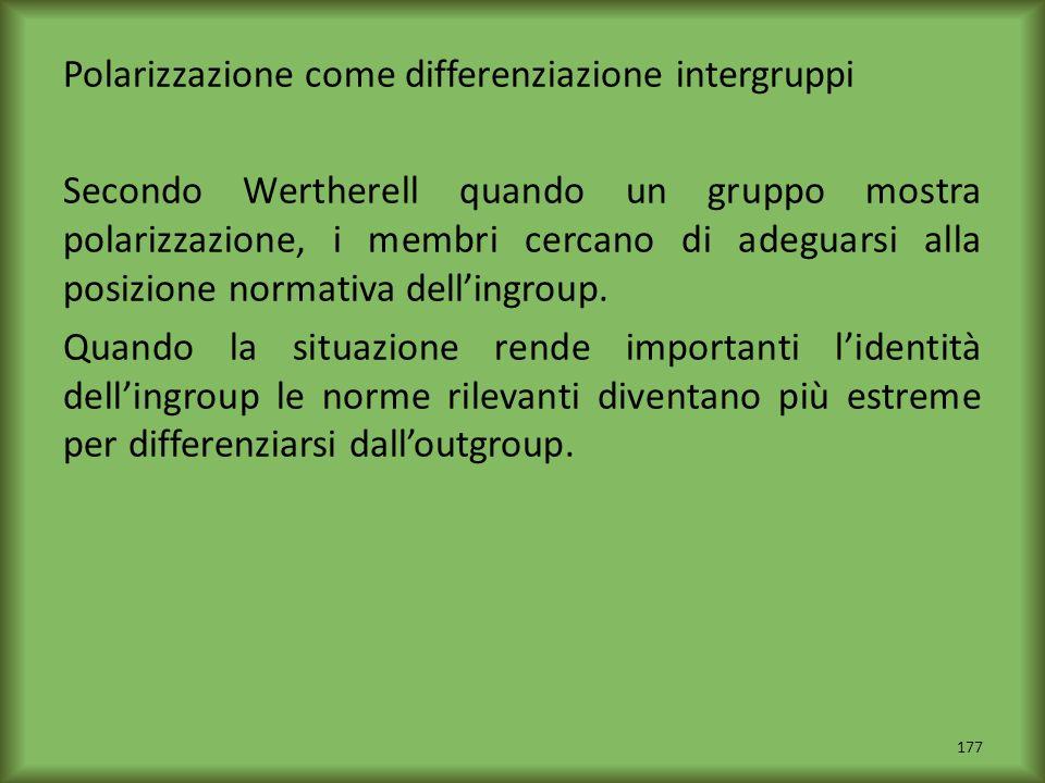 Polarizzazione come differenziazione intergruppi Secondo Wertherell quando un gruppo mostra polarizzazione, i membri cercano di adeguarsi alla posizio