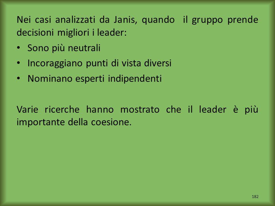 Nei casi analizzati da Janis, quando il gruppo prende decisioni migliori i leader: Sono più neutrali Incoraggiano punti di vista diversi Nominano espe
