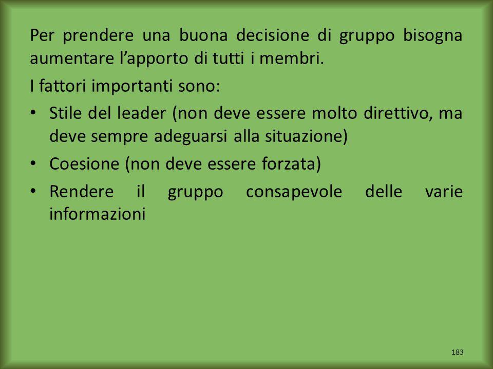 Per prendere una buona decisione di gruppo bisogna aumentare lapporto di tutti i membri. I fattori importanti sono: Stile del leader (non deve essere