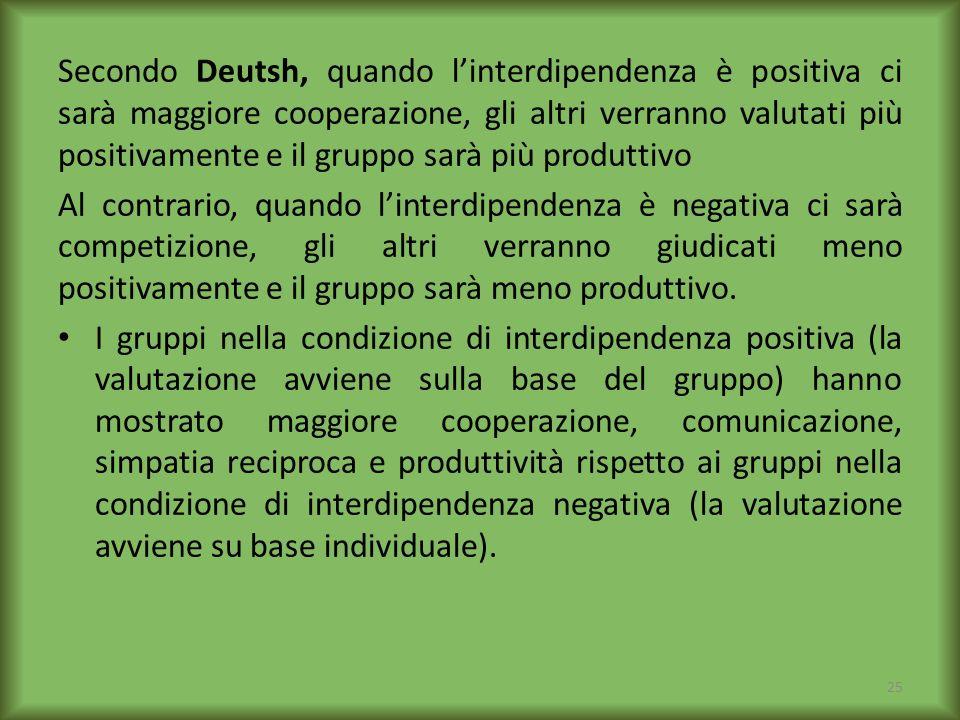 Secondo Deutsh, quando linterdipendenza è positiva ci sarà maggiore cooperazione, gli altri verranno valutati più positivamente e il gruppo sarà più p