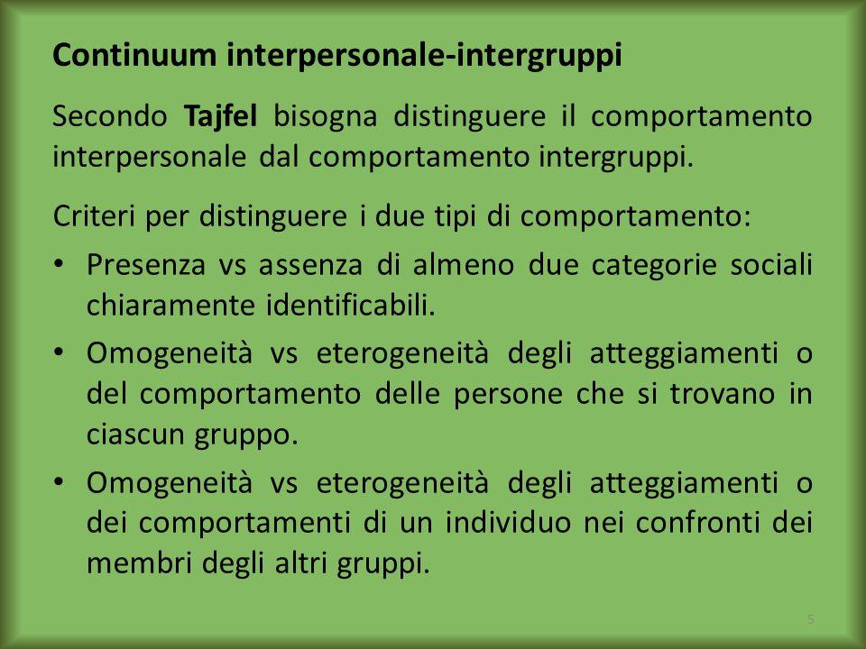 Continuum interpersonale-intergruppi Secondo Tajfel bisogna distinguere il comportamento interpersonale dal comportamento intergruppi. Criteri per dis