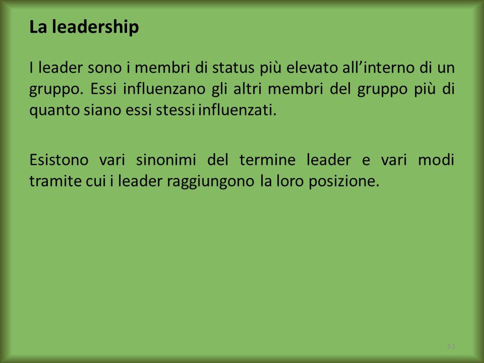 La leadership I leader sono i membri di status più elevato allinterno di un gruppo. Essi influenzano gli altri membri del gruppo più di quanto siano e