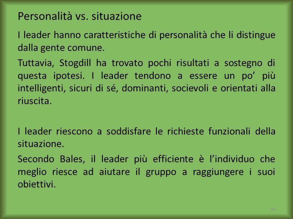 Personalità vs. situazione I leader hanno caratteristiche di personalità che li distingue dalla gente comune. Tuttavia, Stogdill ha trovato pochi risu