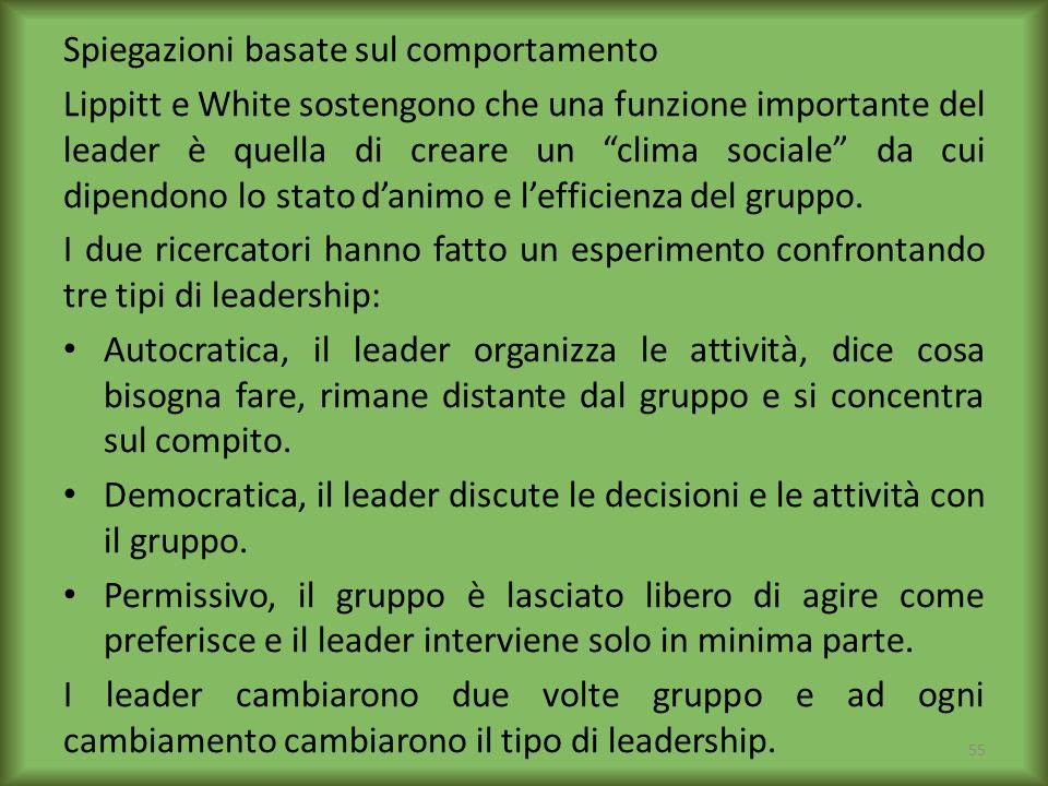 Spiegazioni basate sul comportamento Lippitt e White sostengono che una funzione importante del leader è quella di creare un clima sociale da cui dipe
