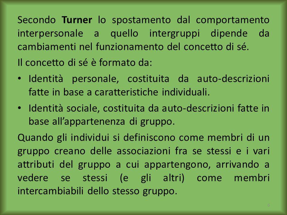 Secondo Turner lo spostamento dal comportamento interpersonale a quello intergruppi dipende da cambiamenti nel funzionamento del concetto di sé. Il co