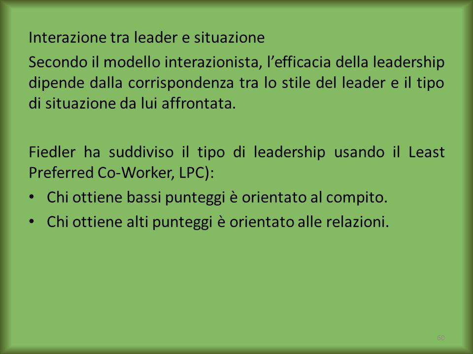 Interazione tra leader e situazione Secondo il modello interazionista, lefficacia della leadership dipende dalla corrispondenza tra lo stile del leade