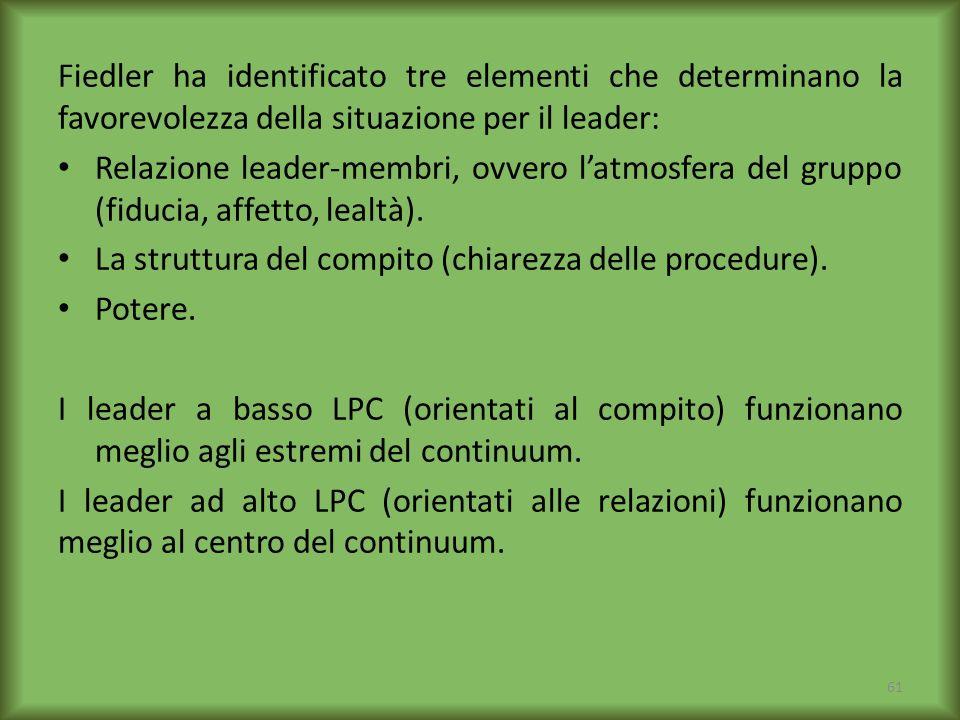 Fiedler ha identificato tre elementi che determinano la favorevolezza della situazione per il leader: Relazione leader-membri, ovvero latmosfera del g
