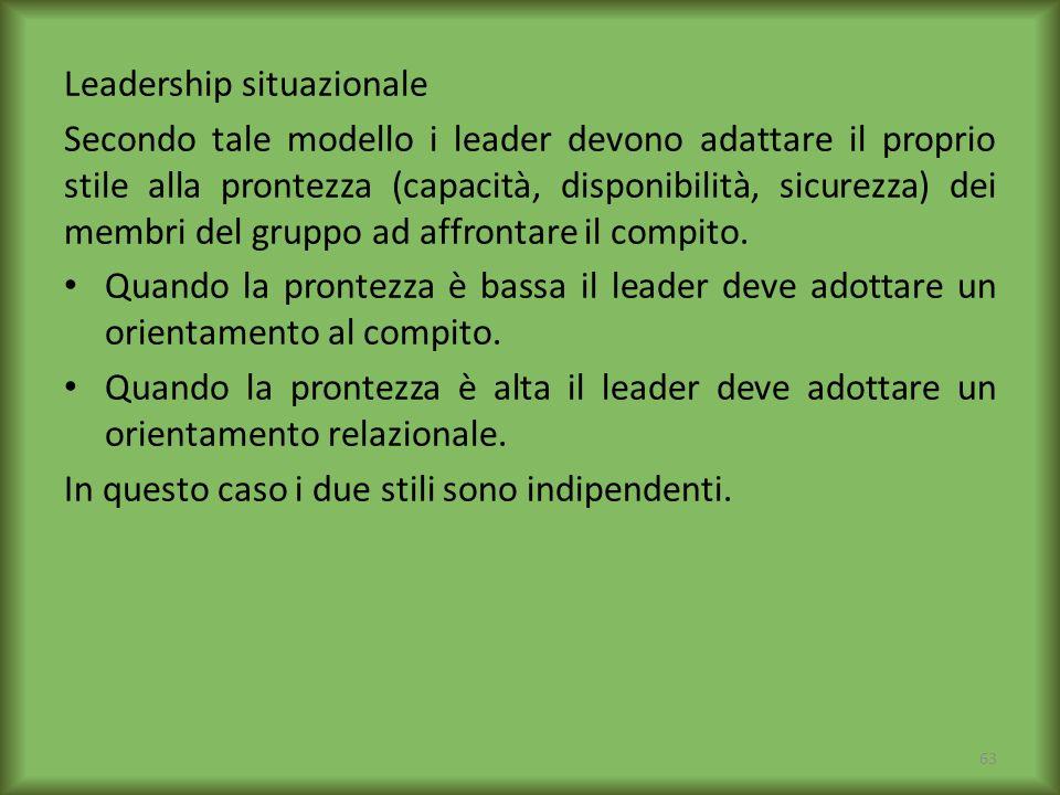 Leadership situazionale Secondo tale modello i leader devono adattare il proprio stile alla prontezza (capacità, disponibilità, sicurezza) dei membri