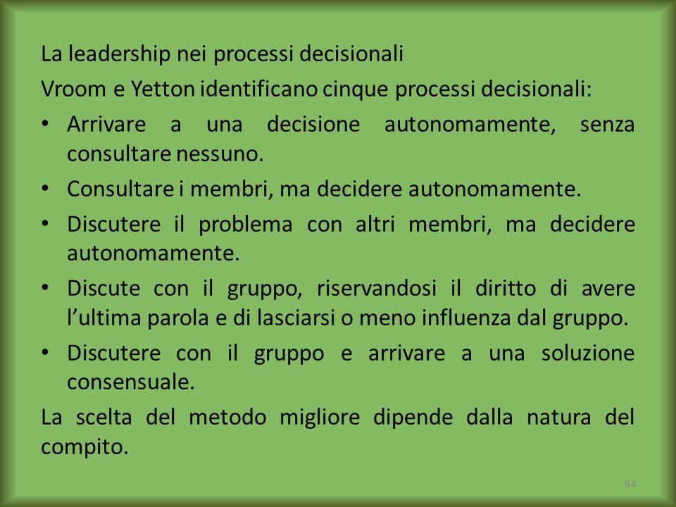 La leadership nei processi decisionali Vroom e Yetton identificano cinque processi decisionali: Arrivare a una decisione autonomamente, senza consulta