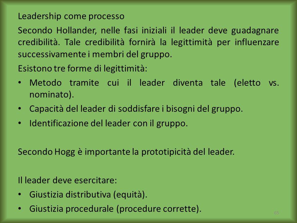 Leadership come processo Secondo Hollander, nelle fasi iniziali il leader deve guadagnare credibilità. Tale credibilità fornirà la legittimità per inf