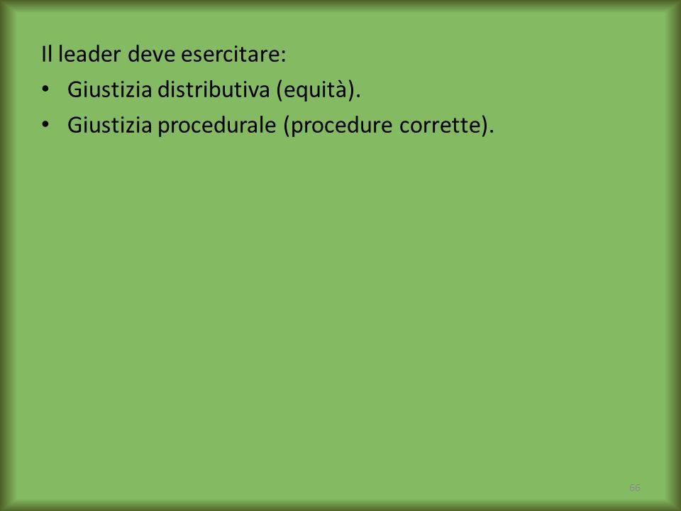 Il leader deve esercitare: Giustizia distributiva (equità). Giustizia procedurale (procedure corrette). 66