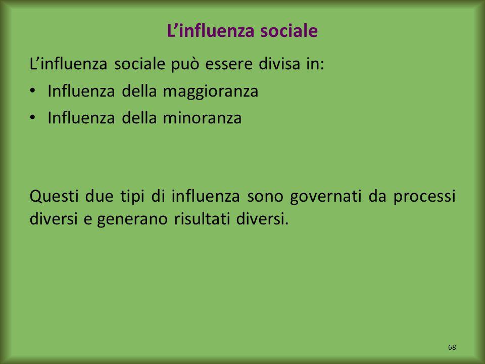 Linfluenza sociale Linfluenza sociale può essere divisa in: Influenza della maggioranza Influenza della minoranza Questi due tipi di influenza sono go