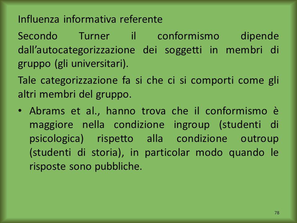 Influenza informativa referente Secondo Turner il conformismo dipende dallautocategorizzazione dei soggetti in membri di gruppo (gli universitari). Ta