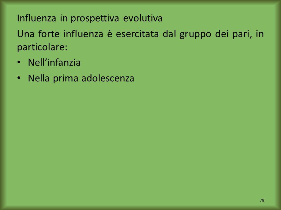 Influenza in prospettiva evolutiva Una forte influenza è esercitata dal gruppo dei pari, in particolare: Nellinfanzia Nella prima adolescenza 79