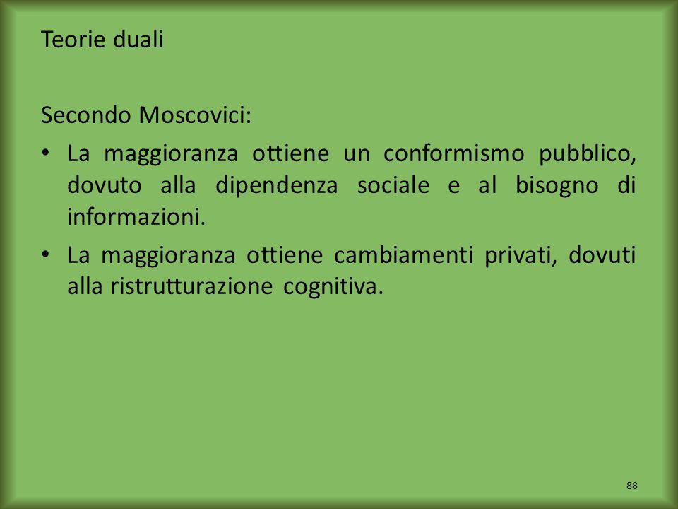 Teorie duali Secondo Moscovici: La maggioranza ottiene un conformismo pubblico, dovuto alla dipendenza sociale e al bisogno di informazioni. La maggio